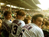 Christian Madsen, Amy Newbold and Ben Lloyd-Hughes at Chicago Cubs Game